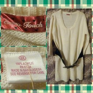 Extra Touch Off White Sweater Tunic/Dress 2X